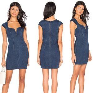 NWT $98 Free People Blue Lia Denim Bodycon Dress L